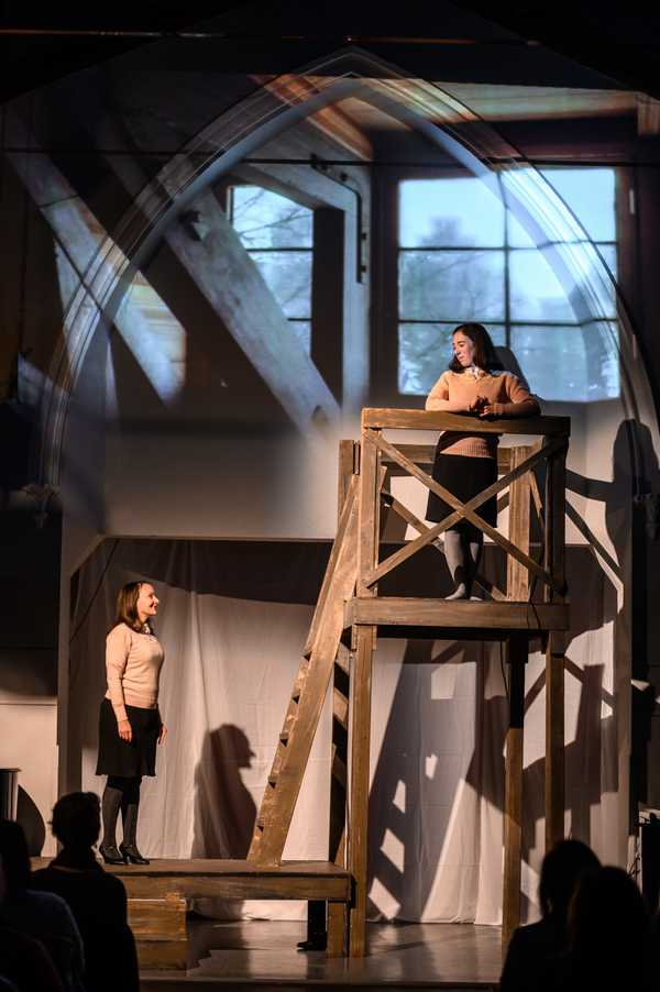 A scene from Alaina's production of Singing Only Softly / The Diary of Anne Frank